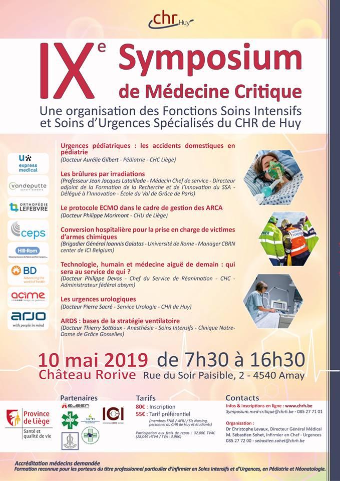 IXe Symposium de médecine critique – CHR de Huy – 10/05/19
